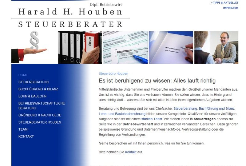 Relaunch online: Steuerberater Houben