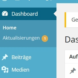 Dashboard Update Wordpress